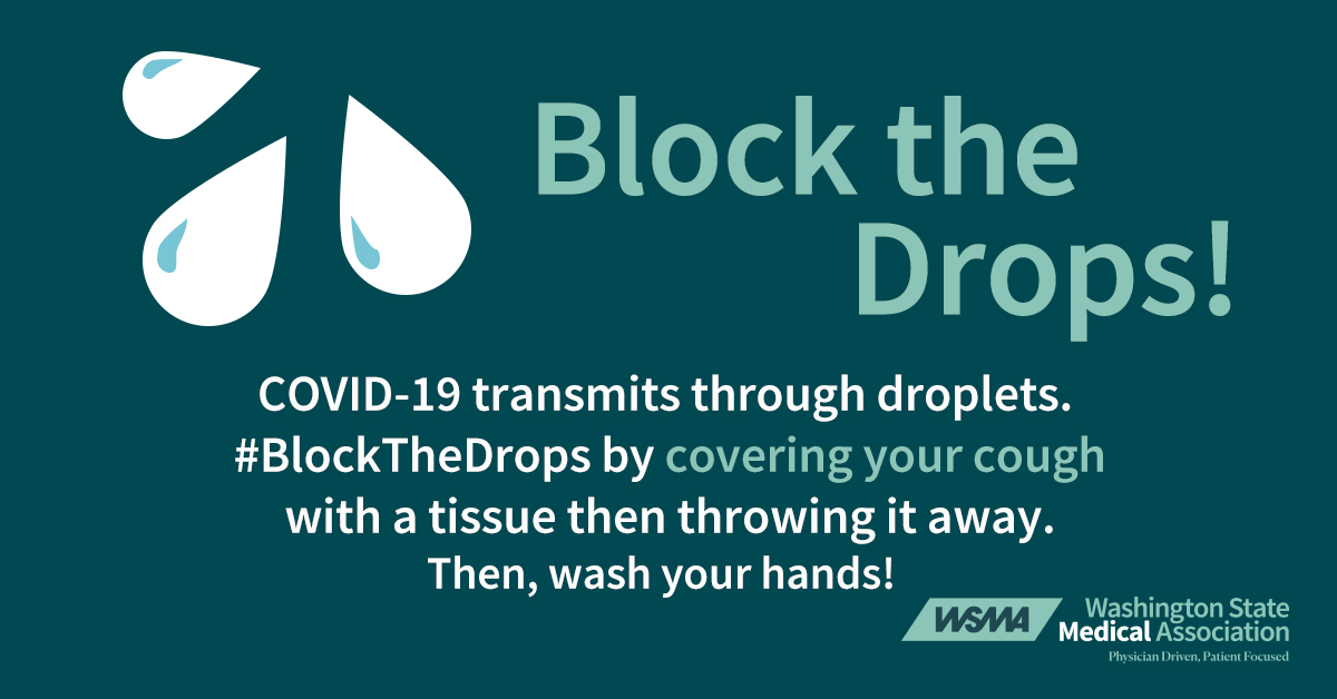 Block the Drops covering your cough logo