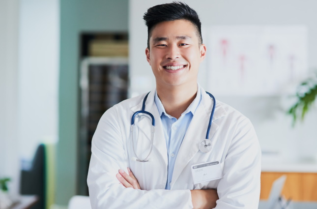 young physician smiling