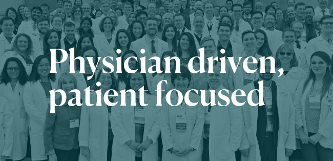 Physician driven, patient logo graphic of physiciands standing